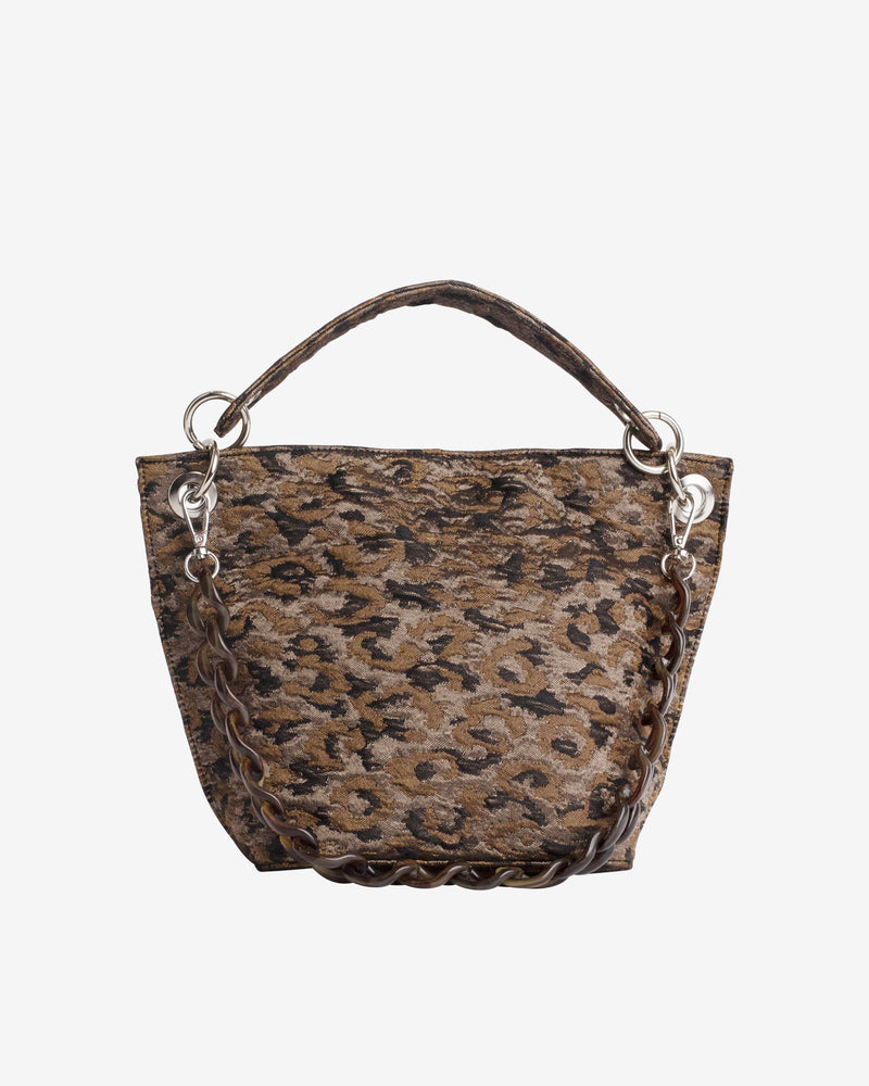 Hvisk NEAT LEOPARD Handle Bag 113 Silver Brown Multi