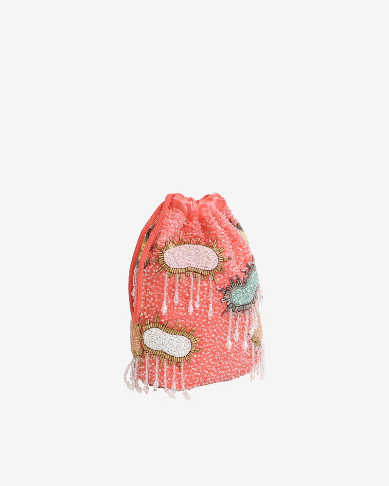 Hvisk POUCH MULTI CLOUD BEADED Handle Bag 028 Peach