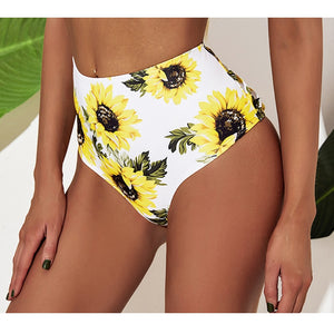 High Waist Print Backless Swimsuit