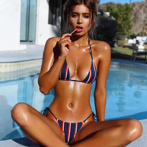 Sexy Striped Print Swimwear
