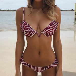 Polka Dot Multi Striped Swimsuit