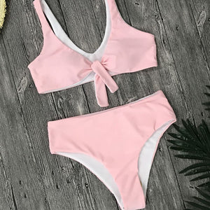 Summer Bandage Tube Top Bikini Set