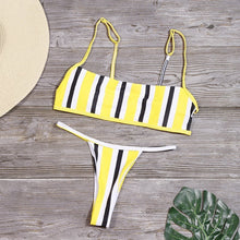 Load image into Gallery viewer, Stripe Print Backless Brazilian Swimwear