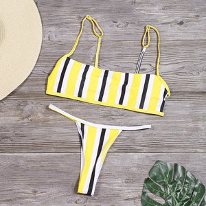 Stripe Print Backless Brazilian Swimwear