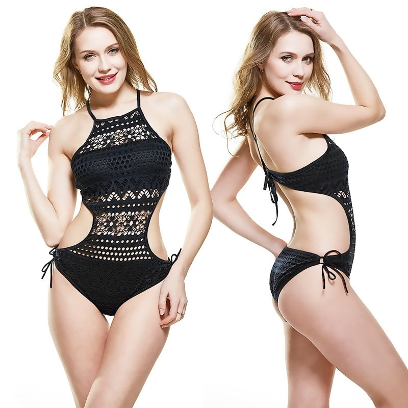 Sexy Hollow Lace One Piece Swimwear