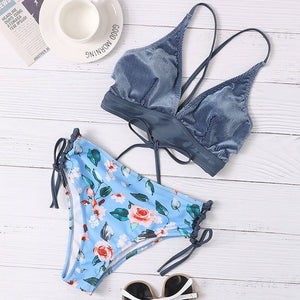Floral Print Two Piece Swimsuit