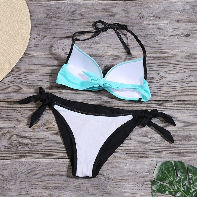 Push Up Patchwork Bathing Suit