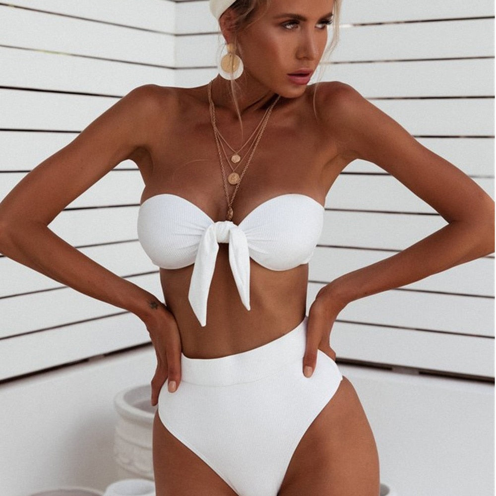 Solid High Waist Bandage Bikini Set