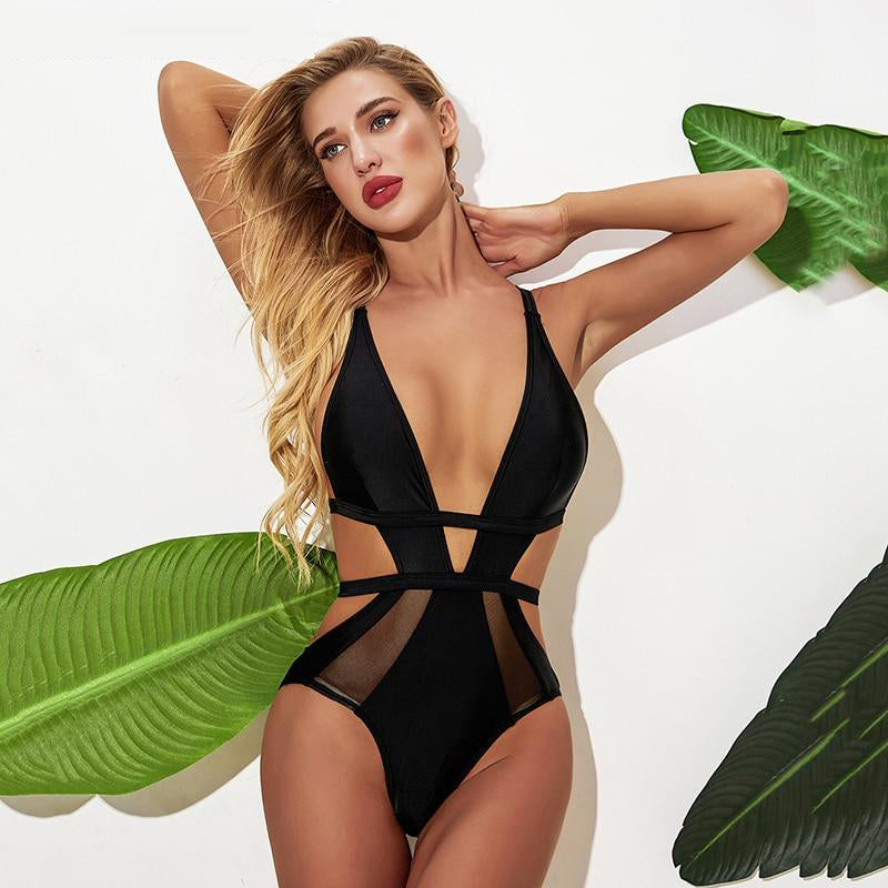 Solid V One Piece Swimsuit