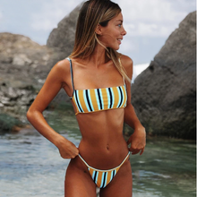 Load image into Gallery viewer, Sexy Stripe Print Swimsuit