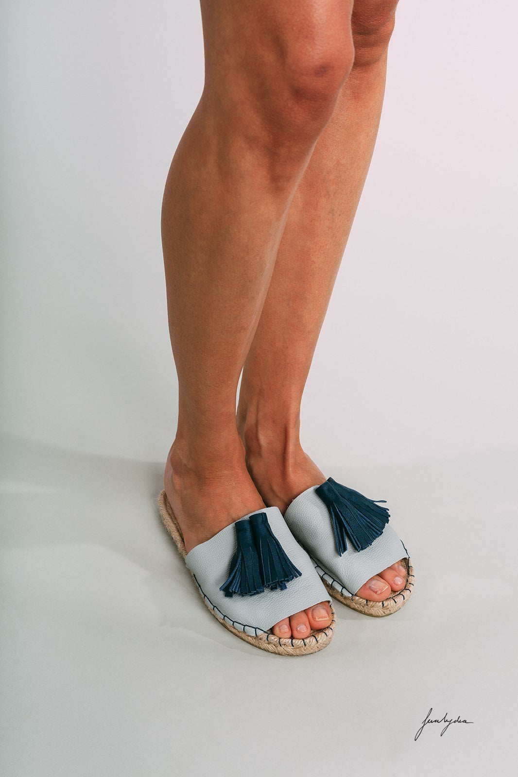 Blue Tasseled Espadrille Slippers