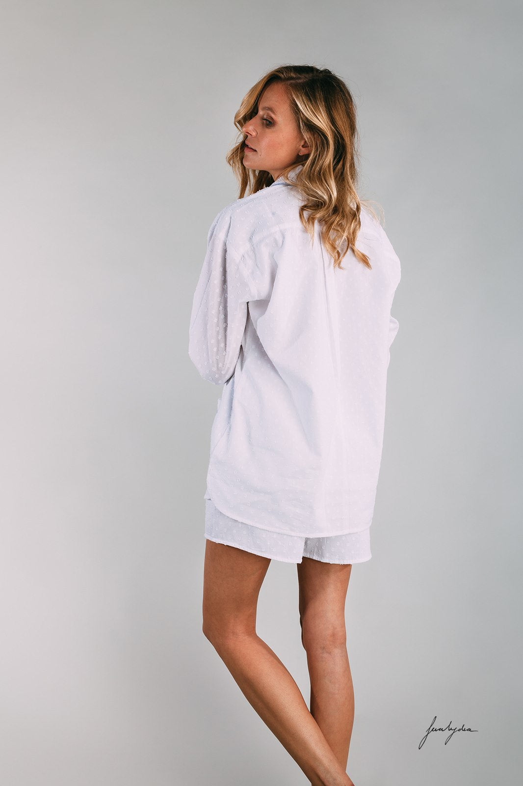 Siân Esther white dobby pyjama shorty set with blue cotton chambray piping. These Pjs make a perfect gift for a honeymoon, night before the wedding, special birthdays or Mother's Day. Luxe lounging in these pajamas.