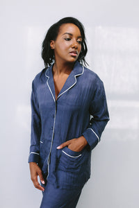 Navy Silk Long Pyjamas