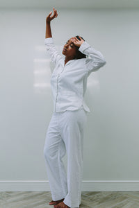 White Metallic Long PJ Set