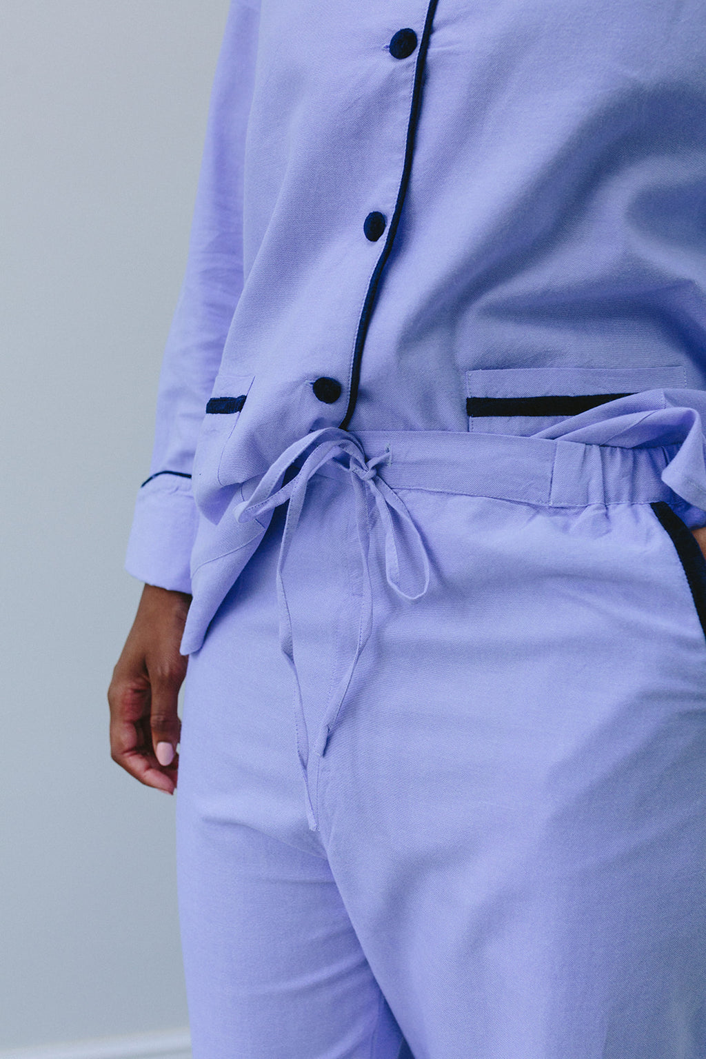 Blue Velvet Trimmed Trousers