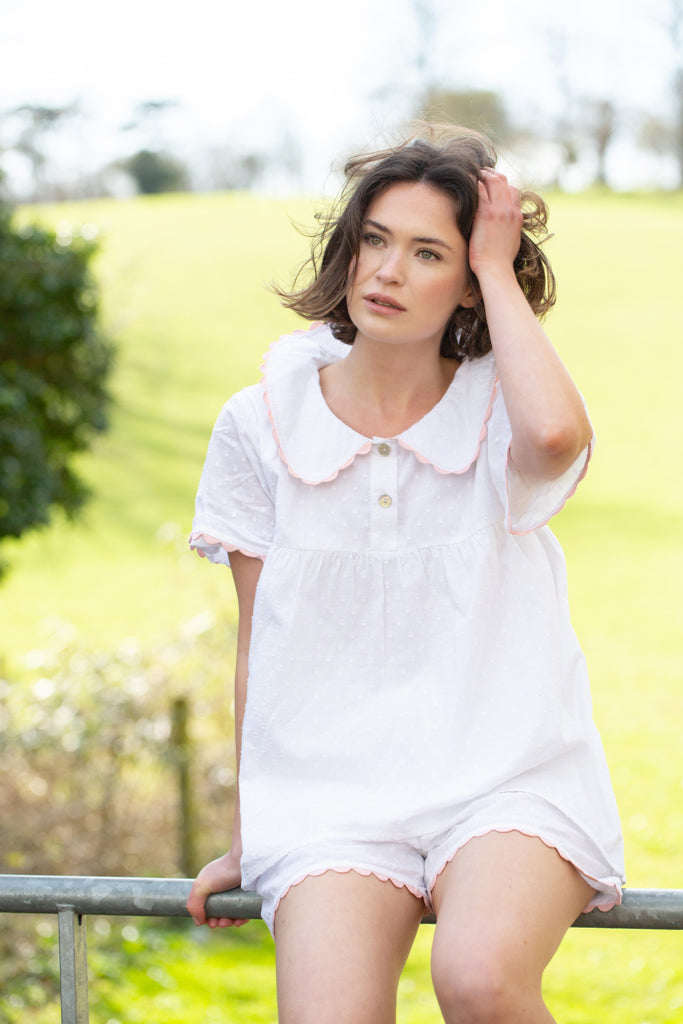 White cotton short PJ Set with Peter Pan collar and Mother of Pearl button fastening. The perfect pyjamas for keeping cool this Summer.