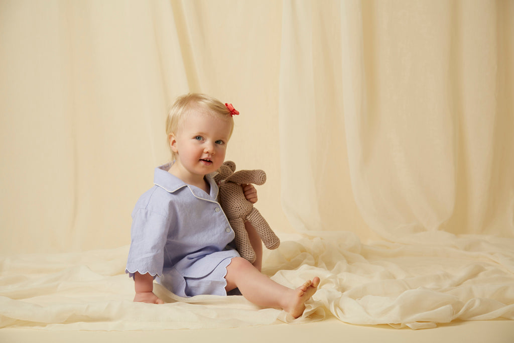 Children's blue cotton scalloped short pj set - an adorable set of pyjamas also available in matching women's