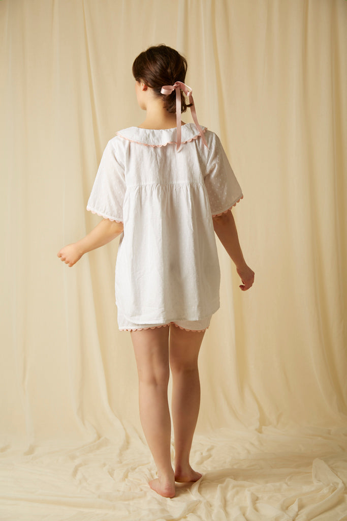 White cotton short PJ Set with Peter Pan collar. The perfect pyjamas for keeping cool this Summer.