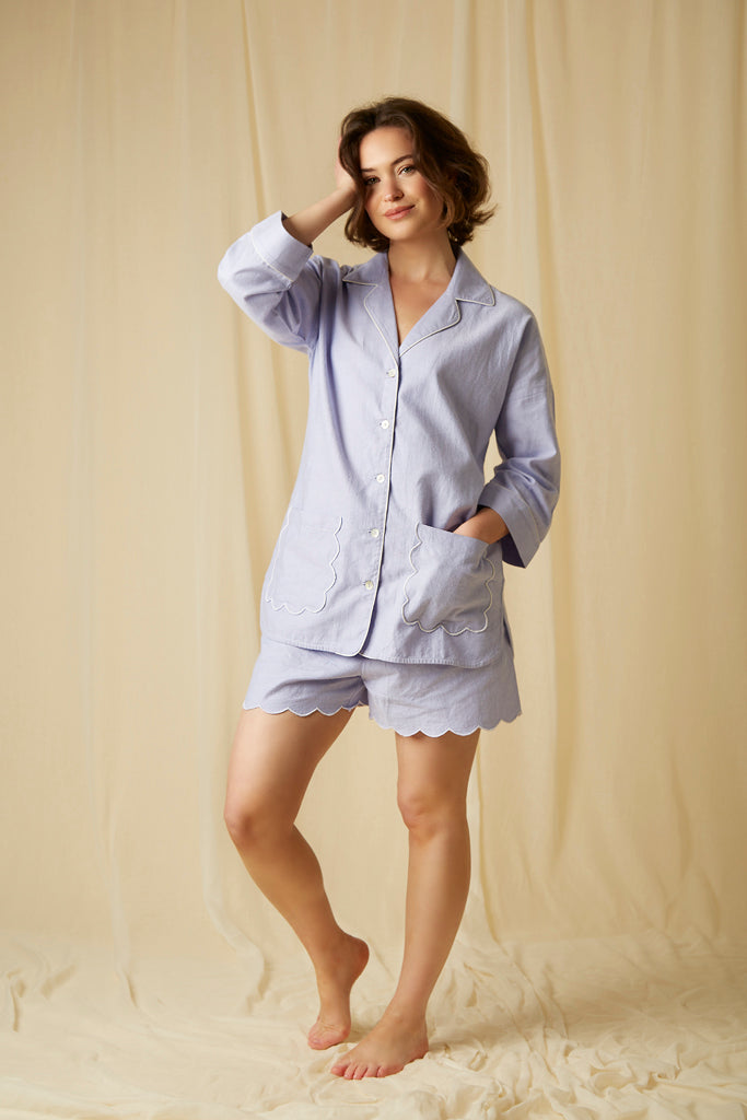 Sian Esther blue scalloped cotton short pj set. Great pyjamas for summer style.
