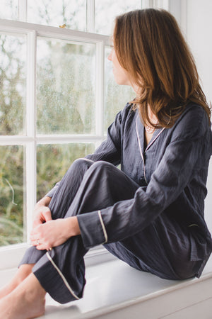 Luxury silk pyjamas, the perfect pj gift for Mother's Day. Beautifully cut pajamas in a lightweight handwoven silk.