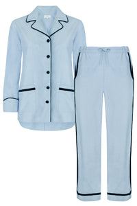 Luxury blue cotton chambray long pyjama set with velvet trims and piping. The pj set features velvet covered buttons and pockets on both the jacket and trousers. Ultimate luxury loungewear!