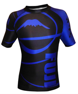 FUJI Sports Freestyle IBJJF Ranked Rashguard - Blue Short Sleeve