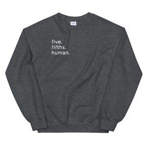Five-Fifths Human Pocket {in white} Unisex Sweatshirt
