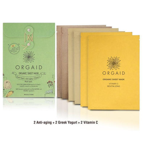 Orgaid Exfoliator & Mask Organic Sheet Mask Multi-Pack (2 of each mask)