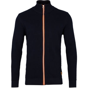 kronstadt - Erik Zip Herre Cardigan - Navy/orange - Knokleriet