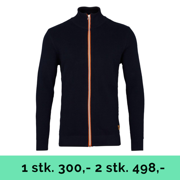 Erik Zip - Herre Cardigan - Navy/Orange