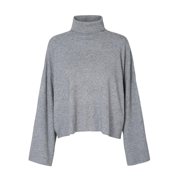Ship L/S Roll Neck - Dame strik - Medium Grey Melange - Knokleriet