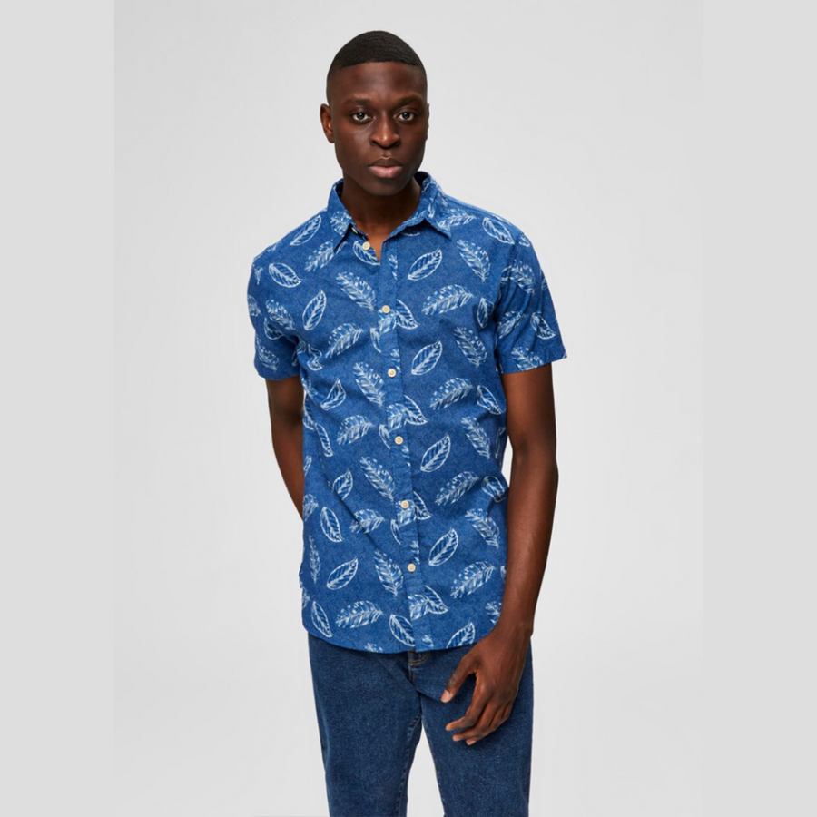 Slim Gale Shirt SS AOP W Camp - Herre Skjorte - Dream Blue/Nomal Col - Knokleriet