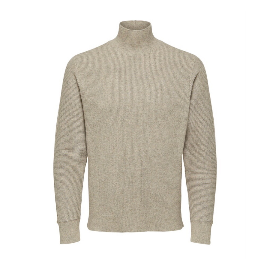 Diego High Neck - Herre strik - Oatmeal/ Melange