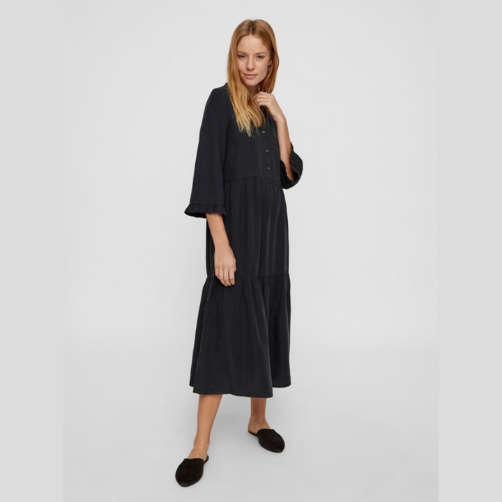 Endi Long Dress - Dame Kjole - Black - Knokleriet