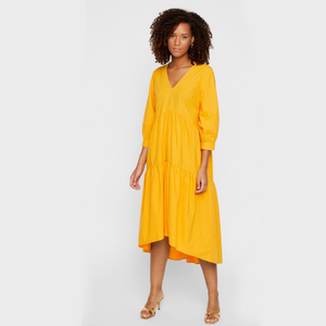 Radhika 3/4 Midi Dress S - Dame Kjole - Cadminum Yellow