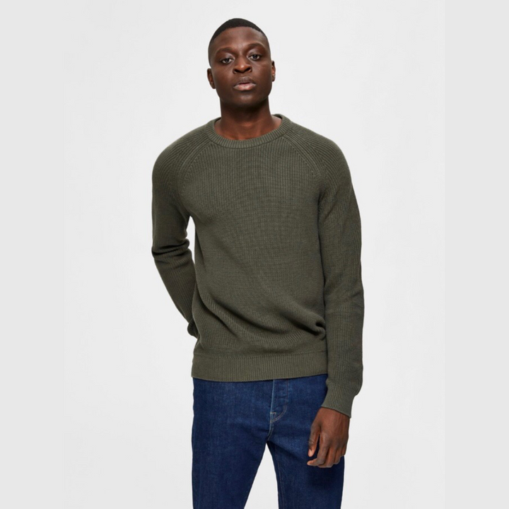 Irving Crew Neck - Herre Strik - Forest Night