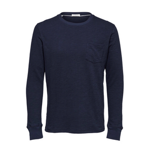 Blocking LS O Neck - Herre T-shirt - Navy - Knokleriet