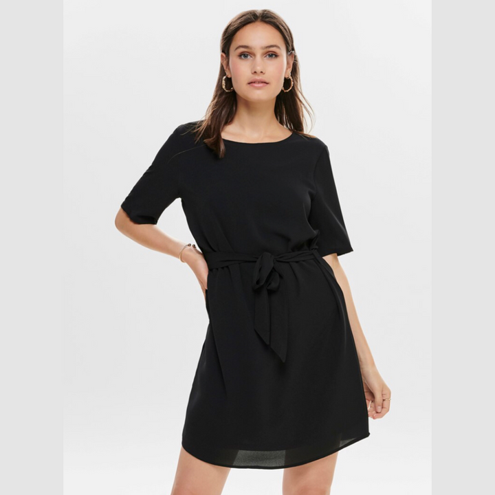 Amanda 2/4 Belt Dress WVN NOOS - Dame Kjole - Black