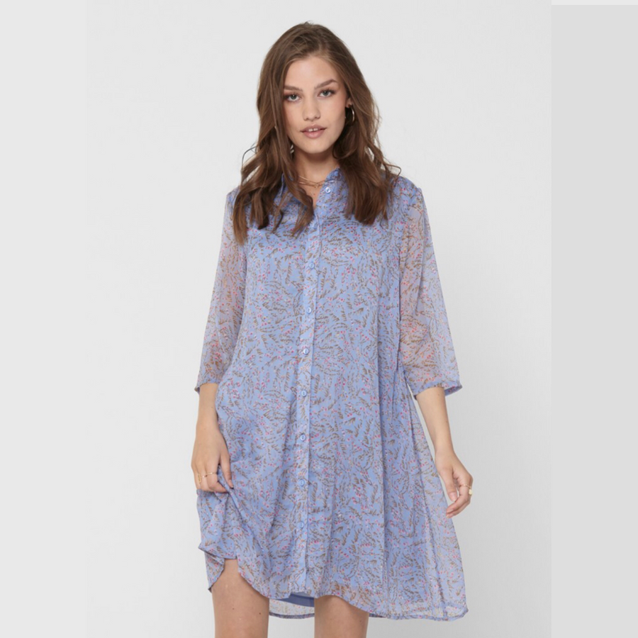 Nelly 3/4 Above Knee Dress - Dame Kjole - Vista Blue/Branch Flo