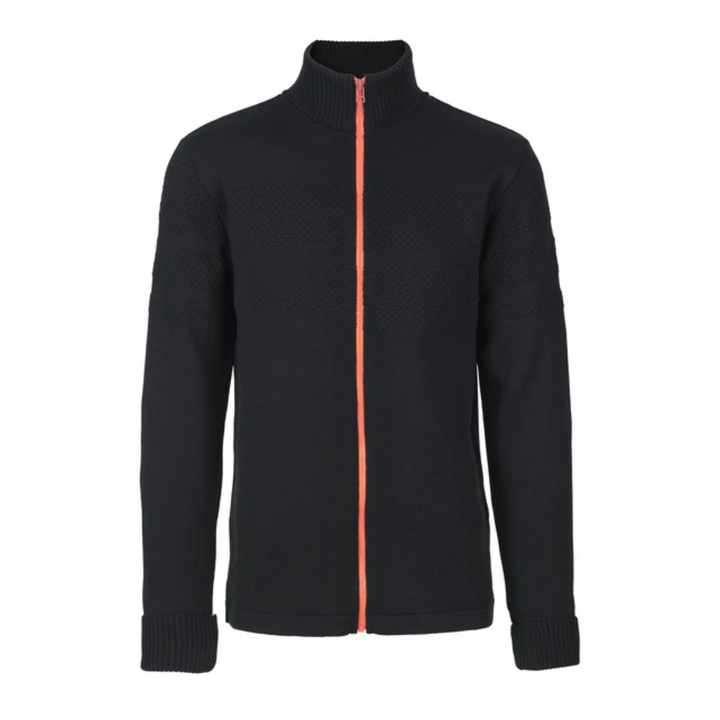 Klemens Zip - Herre strik - Sort/orange