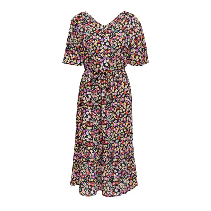 Solis 3/4 Flower Midi Dress WVN - Dame Kjole - Black/Multicolor