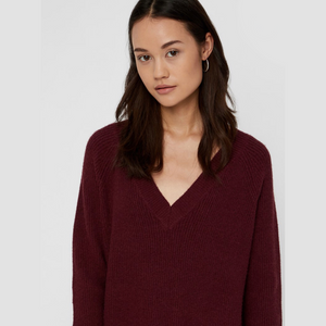 Sati L/S V-Neck Knit - Dame Kjole - Port Royale