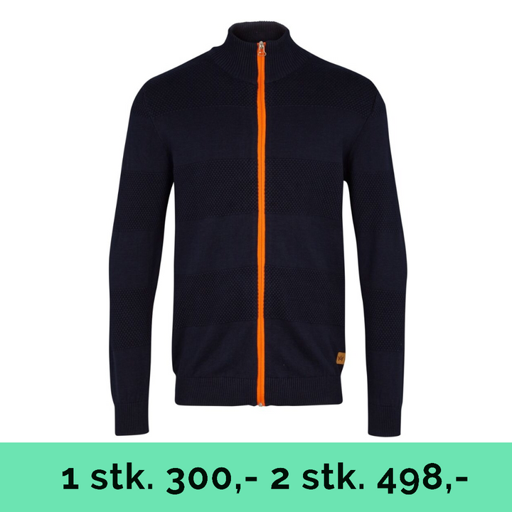 Jacob Zip - herre strik - navy/orange