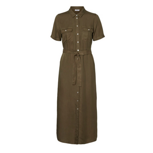 Cersei SS Endi Button Dress BG - Dame Kjole - Olive Night - Knokleriet
