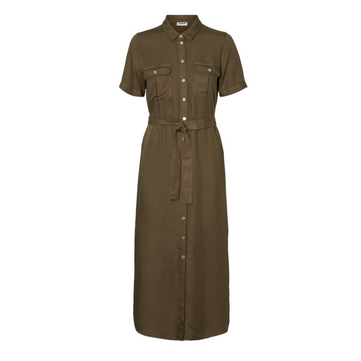 Cersei SS Endi Button Dress BG - Dame Kjole - Olive Night