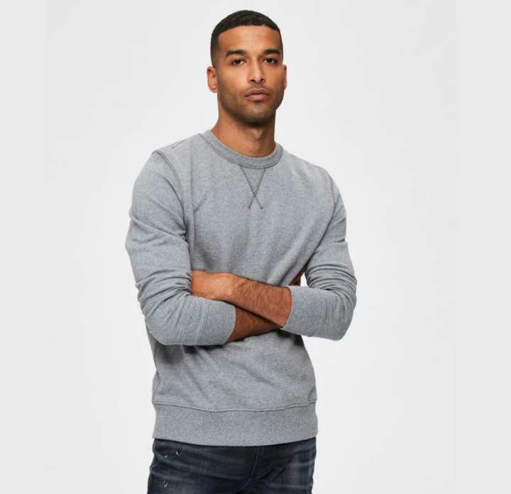 Jason Crew Neck - Herre sweatshirt - Medium Grey Melange