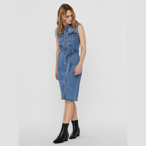 Mina S/L Button DNM Dress - Dame Kjole - Medium Blue Denim - Knokleriet