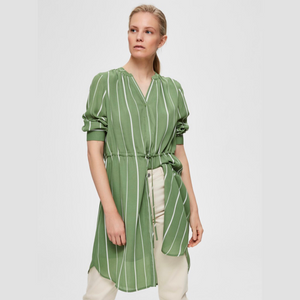 Damina 7/8 AOP Dress B - Dame Kjole - Watercress/Creme stri - Knokleriet