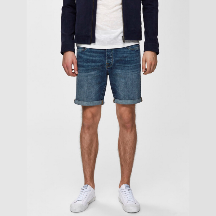 Alex 305 Blue DNM Shorts - Herre Shorts - Medium Blue Denim - Knokleriet