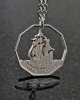 East Caribbean States - Cut Coin Pendant with Ship